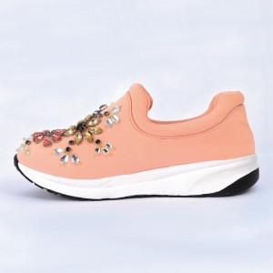 Pantofi Sport Cierra Cod 461 - Pantofi sport din piele ecologică întoarsă  Model înflorat din ștrasuri  Foarte comfortabili - Deppo.ro
