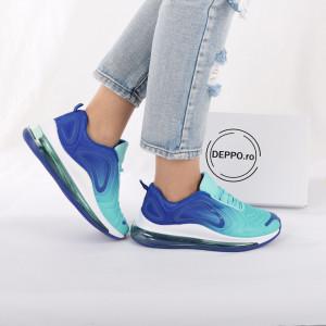 Pantofi Sport cod LB8833 Aqua Green - Pantofi sport pentru dame cu talpă înaltă din spumă foarte comodă și ușoară -piele ecologică întoarsă cu închidere prin șiret - Deppo.ro