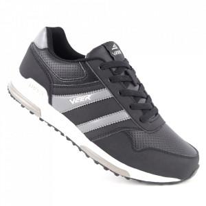 Pantofi sport din piele naturală pentru bărbați cod 1530-4 Black/Gray