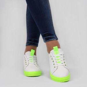 Pantofi sport Iris Albi - Pantofi sport din material textil cu talpă verde si un calapod comod - Deppo.ro
