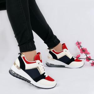 Pantofi Sport Neveah White - Pantofi sport albi din material textil și piele ecologică respirabil cu vârf rotund și talpă din silicon flexibilă si confortabilă - Deppo.ro
