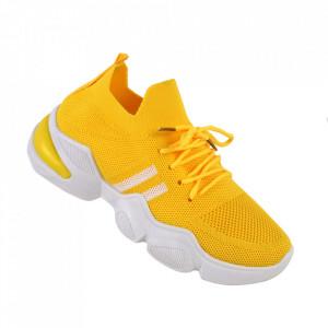 Pantofi sport pentru dame cod 86002 Yellow/White