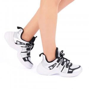 Pantofi Sport Vitoria - Pantofi sport albi-color, interior din material textil respirabil cu talpa din silicon, flexibilă şi confortabilă - Deppo.ro