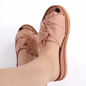Papuci pentru dame din piele ecologică cod LTS0259 Pink