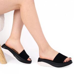 Papuci pentru dame din piele ecologică cod LTS0273 Black