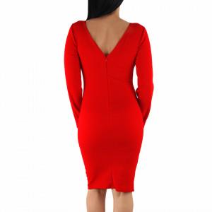 Rochie Emily Red - Rochie roșie cu negru elegantă cu un decolteu generos acoperit cu plasă neagră și decorată cu pietricele în V, pune-ți silueta în evidență și atrage toate privirile - Deppo.ro
