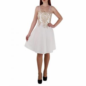 Rochie Erica Albă - Rochie de culaore albă, scurtă lejeră şi elegantă,cu dantelă aurie pe zona bustului, simte-te atrăgătoare purtând această rochie și atrage toate privirile la urmatoarea petrecere. - Deppo.ro