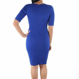 Rochie Karla Blue - Rochie turquoise cu crem, elegantă cu un decolteu generos și dantelată pe lateral, pune-ți silueta în evidență și atrage toate privirile - Deppo.ro