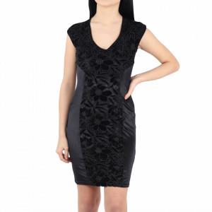 Rochie Kira Black - Rochie neagră fără mâneci deasupra genunchilor, lejeră cu un design floral - Deppo.ro