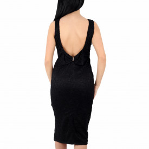 Rochie Lexie Neagră - Rochieneagrădin dantelă elegantă cu decolteu în V la spate si cu fundiță decorativa , decupată pe un picior ușor de accesorizat fiind ideală pentru orice eveniment. - Deppo.ro