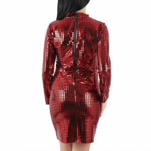 Rochie Retros Red - Rochie strălucitoare cu aplicatii cromatice roşii, pune-ți silueta în evidență și atrage toate privirile - Deppo.ro
