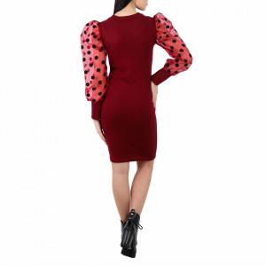 Rochie Sydnee Red - Rochie neagră elegantă  Cu mănecă bufantă din plasă , asortată cu buline  Completează-ți ținuta și strălucește la următoarea petrecere.  Compoziţie:  95% poliester  5% elastan - Deppo.ro