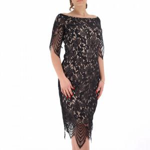 Rochie Vanessa Black - Rochie elegantă cu un decolteu modest cu maneci lungi - Deppo.ro