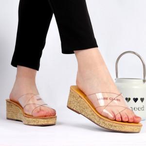 Saboți pentru dame Cod 801 Yellow - Saboți din piele ecologică  Calapod comod - Deppo.ro