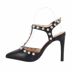 Sandale cod HH3 Negre - Sandale cu toc elegante din piele ecologică lacuită - Deppo.ro