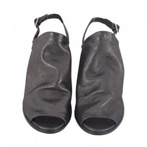 Sandale din piele naturală cod 051 Black Silver - Sandale pentru dame din piele naturală  Închidere prin baretă - Deppo.ro