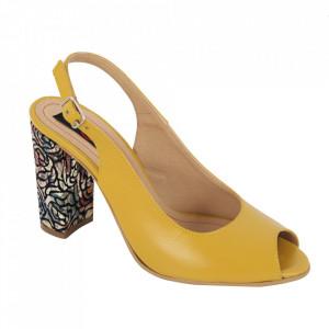Sandale din piele naturală cod 1068 Galben