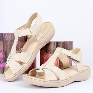 Sandale pentru dame din piele naturală cod 090 Bej