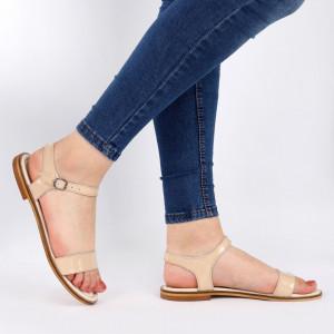 Sandale pentru dame din piele naturală cod 160322 Nude