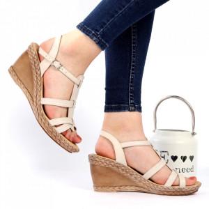Sandale pentru dame din piele naturală cod 210 Bej