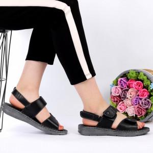 Sandale pentru dame din piele naturală cod 8AN5 Black - Sandale pentru dama din piele naturală  Închidere prin scai  Calapod comod - Deppo.ro