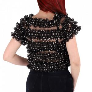Tricou pentru dame cod P8875 Black - Tricou pentru dame  Model cu volănașe  Conferă lejeritate si o ținută casual - Deppo.ro