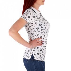 Tricou pentru dame cod TFL10 White - Tricou pentru dame  Model înflorat, cu guler și închidere prin nasturi - Deppo.ro