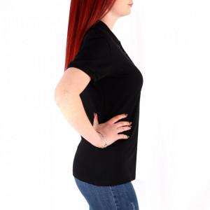 Tricou pentru dame cod TRC1 Black - Tricou pentru dame  Model cu guler și închidere prin nasturi - Deppo.ro
