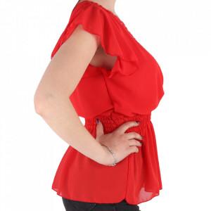 Bluză pentru dame tip cămășuță cod 1938 Red - Bluză tip cămășuță pentru dame  Model decorativ cu dantelă  Decolteu in V - Deppo.ro