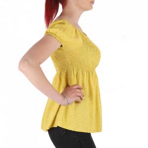 Bluză pentru dame tip cămășuță cod 31065 Yellow - Bluză tip cămășuță pentru dame  Model cu floricele - Deppo.ro