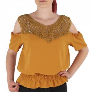 Bluză pentru dame tip cămășuță cod NN001 Mustariu