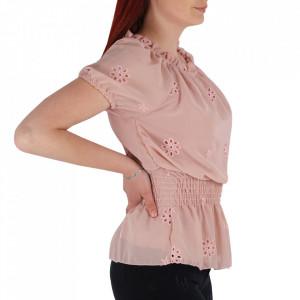 Bluză tip cămășuță pentru dame cod YY9 Pink - Bluză tip cămăsuță  Model înflorat  Conferă lejeritate și eleganță - Deppo.ro