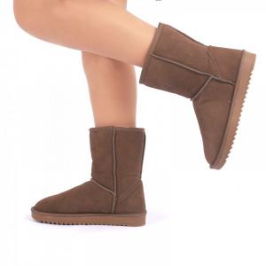 Cizme din piele naturală cod BB2 Khaki - Cizme tip UG din piele ecologică întoarsă îmblănite ideale pentru sezonul rece - Deppo.ro