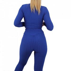 Compleu sport damă Blue - Compleu pentru femei, compus din bluză, pantalon Material ușor elastic Pantalon cu buzunareoar  laterale - Deppo.ro