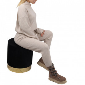 Compleu tricot damă Crem - Compleu pentru femei, compus din bluză, pantalon Material ușor elastic Pantalon cu buzunareoar  laterale - Deppo.ro