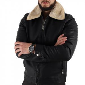 Geacă de iarnă Bernard Neagră - Geacă lungă stilată de iarnă pentru bărbaţi din piele ecologică, prevăzută cu glugă, în partea din faţă jacheta este prevăzută cu un fermoar lung rezistent şi capse. - Deppo.ro