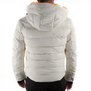 Geacă de iarnă Ronan Albă - În partea din faţă jacheta este prevăzută cu un fermoar lung din plastic rezistent, aceleaşi tipuri de fermoare, sunt aplicate şi la baza buzunarelor laterale. - Deppo.ro