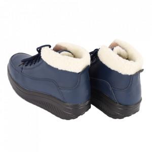 Ghete din piele naturală cod A603-2 Blue - Ghete din piele naturală cu inchidere prin șiret și talpă flexibilă. - Deppo.ro