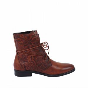 Ghete pentru dame cod 961 Maro - Ghete din piele ecologică cu un model floral în stil texan - Deppo.ro