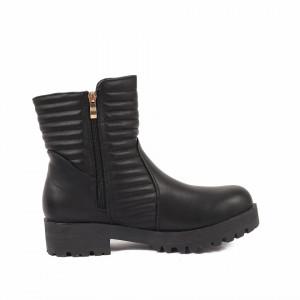 Ghete pentru dame cod IR380 Negre - Ghete pentru dame din piele ecologică decorate cu inserții metalice - Deppo.ro