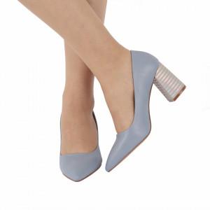 Pantofi Cu Toc Abril Blue - Pantofi cu toc gros cu un model deosebit și vârf ascuțit din piele ecologică, foarte confortabili potriviți pentru birou sau evenimente speciale. - Deppo.ro
