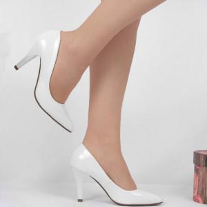 Pantofi Cu Toc Albi Cod 9008