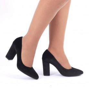 Pantofi Cu Toc Camelia Negri - Pantofi cu vârf rotund din piele ecologică întoarsă, foarte confortabili cu un calapod comod - Deppo.ro