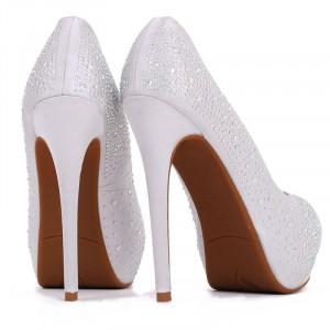 Pantofi cu toc cod 22271 Arginti - Pantofi cu toc înalt și platformă, din piele ecologică decorați cu ștrasuri - Deppo.ro