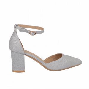 Pantofi cu toc cod 30875 Arginti - Pantofi decupați tip sanda cu vârf și toc ascuțit din piele ecologică, foarte confortabili cu un calapod comod - Deppo.ro