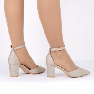 Pantofi cu toc cod 30875 Auri - Pantofi decupați tip sanda cu vârf și toc ascuțit din piele ecologică, foarte confortabili cu un calapod comod - Deppo.ro
