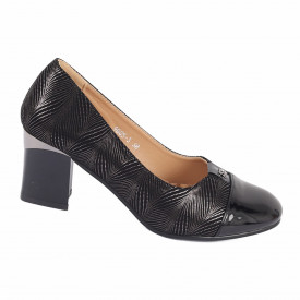 Pantofi cu toc cod 90053 Negri - Pantofi din din piele ecologică, cu tălpic moale de cea mai bună calitate, toc foarte confortabili cu un calapod comod - Deppo.ro