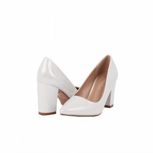 Pantofi cu toc cod 92021H Arginti - Pantofi cu toc gros din piele ecologică cu un design unic, fii in pas cu moda si străluceste la urmatoarea petrecere. - Deppo.ro