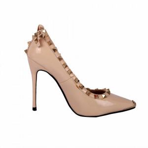 Pantofi cu toc cod A1136 Nude - Pantofi bej din piele ecologică lacuită cu tocul de 11 cm şi vârf ascuţit - Deppo.ro