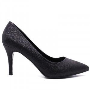 Pantofi cu toc cod C57 Negri - Pantofi cu toc din piele ecologică cu sclipici pe exterior - Deppo.ro